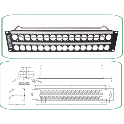 PERCON 8709-R/2 Universal Bulkhead Patch Panel
